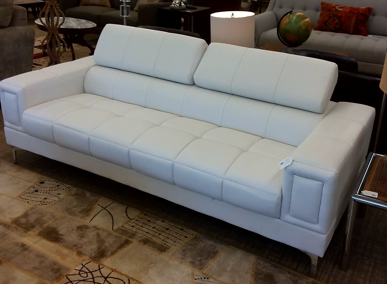 Contemporary White Leather Sofa 595