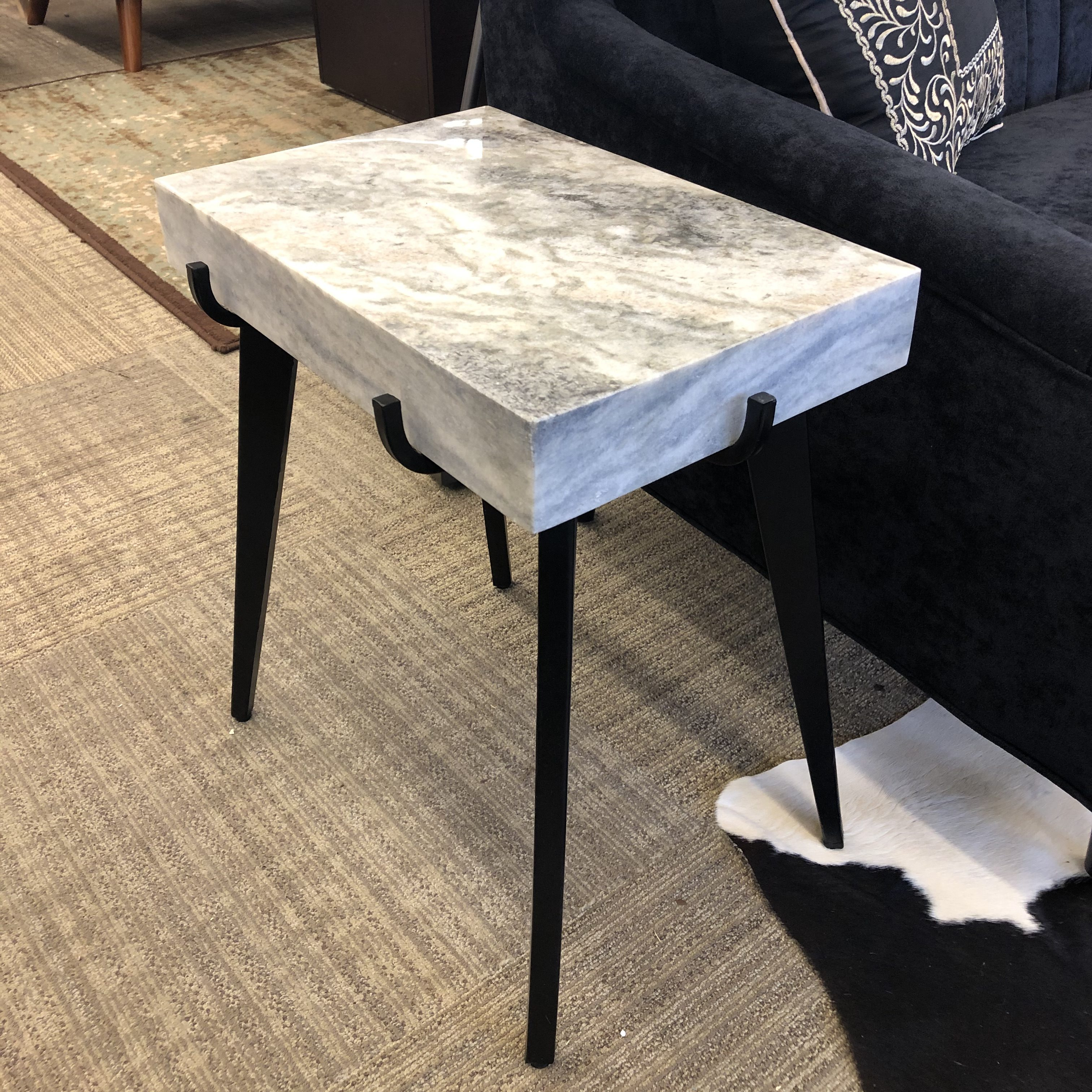 - White/Black Marble Accent Table - Furniture Guy Seattle